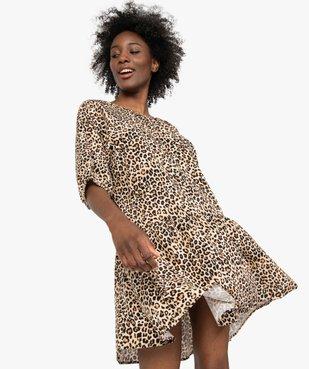 Robe femme imprimée courte à manches ¾  vue1 - Nikesneakers(FEMME PAP) - Nikesneakers