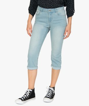 Pantacourt femme en jean délavé 5 poches et taille normale vue1 - GEMO C4G FEMME - GEMO
