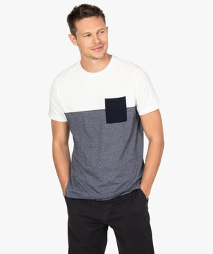 Tee-shirt homme à manches courtes bicolore uni/rayé vue1 - GEMO (HOMME) - GEMO