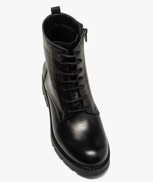 Boots fille en cuir uni style godillots à semelle crantée vue5 - GEMO (ENFANT) - GEMO