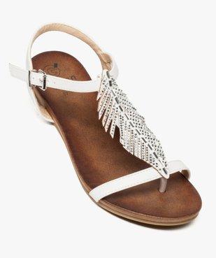 Sandales femme avec feuille en strass et petit talon compensé vue5 - GEMO (CASUAL) - GEMO
