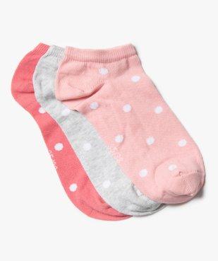 Chaussettes fille tige ultra-courte à pois (lot de 3) vue1 - GEMO (ENFANT) - GEMO