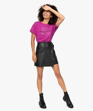 Tee-shirt femme à manches courtes et strass vue5 - GEMO(FEMME PAP) - GEMO