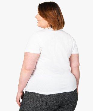 Tee-shirt femme à manches courtes et col V vue3 - GEMO (G TAILLE) - GEMO