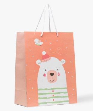 Pochette cadeau bébé avec motif ours polaire en papier recyclé vue1 - GEMO C4G BEBE - GEMO