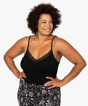 Débardeur femme grande taille en maille fluide et dentelle vue1 - GEMO(HOMWR FEM) - GEMO