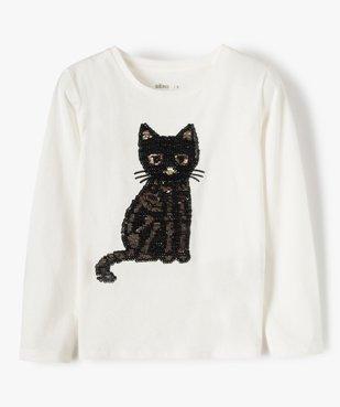 Tee-shirt fille avec motifs en sequins brodés vue2 - GEMO (ENFANT) - GEMO