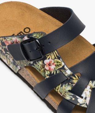 Sandales femme mules à larges brides unies et fleuries vue6 - GEMO (CASUAL) - GEMO