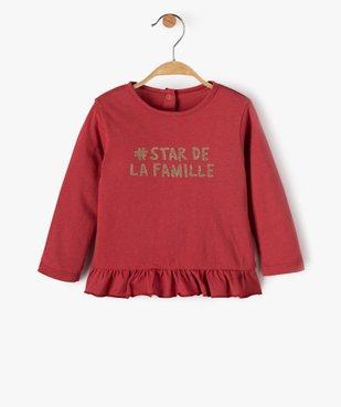 Tee-shirt bébé fille à volant avec inscription pailletée vue1 - Nikesneakers(BEBE DEBT) - Nikesneakers