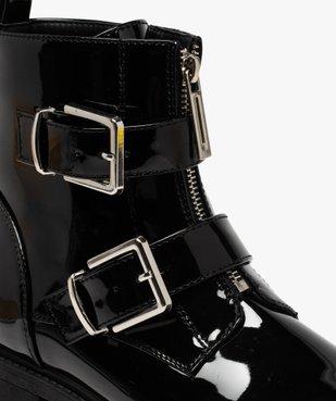 Boots femme vernies à talon plat et brides à boucle vue6 - GEMO (CASUAL) - GEMO