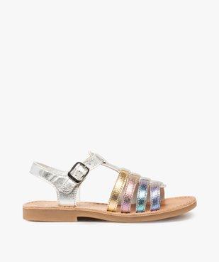 Sandales filles en cuir à brides multiples arc-en-ciel - Bopy vue1 - BOPY - GEMO