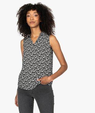 Blouse femme sans manches imprimée avec col chemise vue1 - Nikesneakers(FEMME PAP) - Nikesneakers