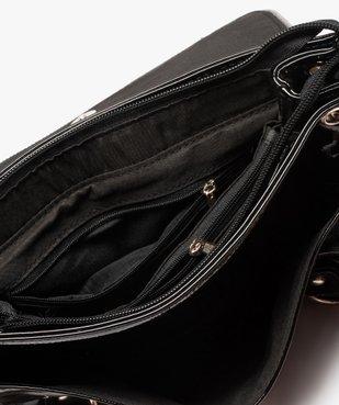 Sac femme verni avec zips décoratifs  vue3 - GEMO (ACCESS) - GEMO
