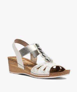 Sandales femme à enfiler avec talon compensé vue2 - GEMO(URBAIN) - GEMO