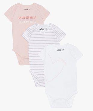 Bodies bébé à manches courtes en coton bio (lot de 3) vue1 - GEMO - GEMO