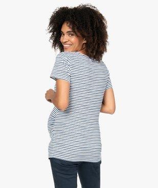 Tee-shirt de grossesse rayé à manches courtes vue3 - GEMO C4G MATERN - GEMO