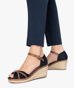 Sandales femme à talon compensé et dessus toile drapée vue1 - GEMO(URBAIN) - GEMO