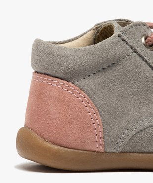 Bottillons premiers pas bébé fille en cuir fermeture lacets vue6 - Nikesneakers(BEBE DEBT) - Nikesneakers