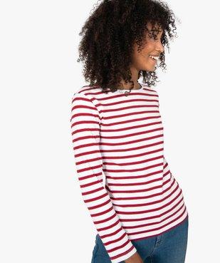 Tee-shirt femme rayé à manches longues vue2 - GEMO(FEMME PAP) - GEMO
