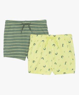 Short bébé garçon en jersey à taille élastiquée (lot de 2) rayures / crocodiles vue1 - GEMO(BEBE DEBT) - GEMO