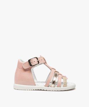Sandales bébé filles en cuir détails métallisés - Bopy vue1 - BOPY - GEMO
