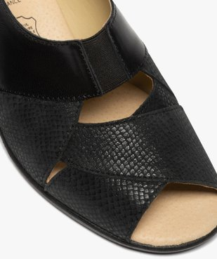 Sandales femme confort en cuir uni et talon compensé vue6 - GEMO (CONFORT) - GEMO