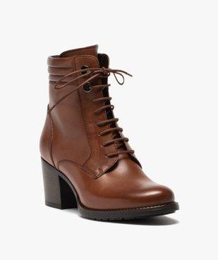 Boots femme unis à talon dessus cuir à lacets vue2 - GEMO(URBAIN) - GEMO