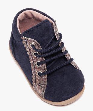 Chaussures premiers pas fille en cuir suédé et paillettes vue5 - Nikesneakers(BEBE DEBT) - Nikesneakers
