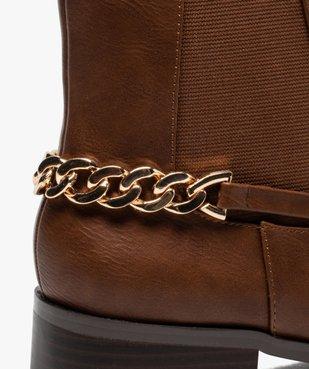 Boots femme unies à talon plat avec chaîne sur l'arrière vue6 - GEMO (CASUAL) - GEMO