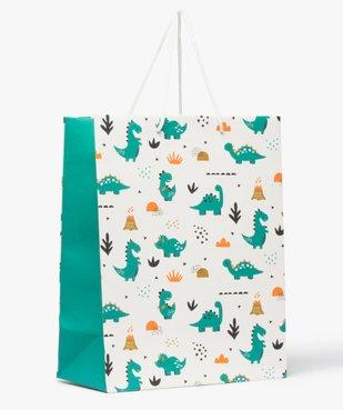 Pochette cadeau bébé avec motifs dinosaures en papier recyclé vue1 - GEMO C4G BEBE - GEMO