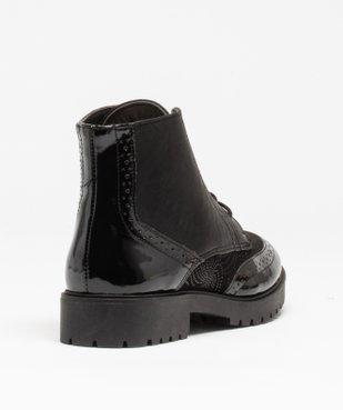 Boots femme unies dessus verni et bout golf perforé vue4 - GEMO (CASUAL) - GEMO