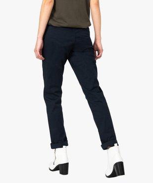 Pantalon femme chino en toile extensible avec ceinture à nouer vue3 - GEMO(FEMME PAP) - GEMO