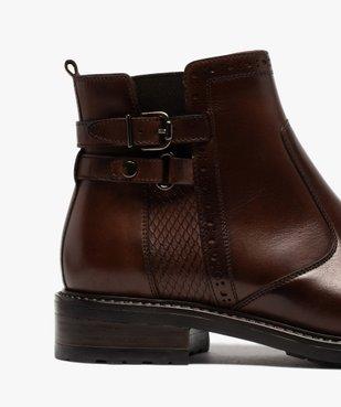 Boots femme unis à talon plat dessus cuir à bords ajourés vue6 - GEMO (CASUAL) - GEMO