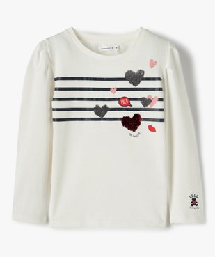 Tee-shirt fille à manches longues avec sequins – Lulu Castagnette vue1 - LULUCASTAGNETTE - GEMO