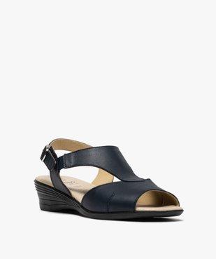 Sandales femme confort en cuir avec petit talon vue2 - GEMO (CONFORT) - GEMO