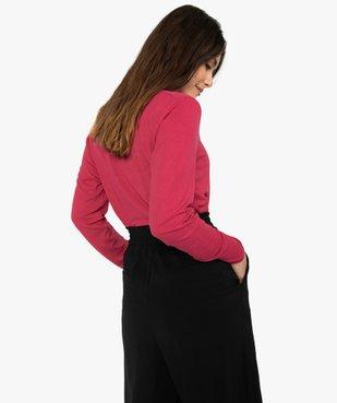 Tee-shirt femme à manches longues et col V en dentelle vue3 - GEMO(FEMME PAP) - GEMO