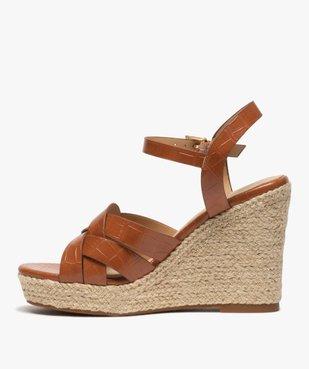 Sandales femme à talon compensé dessus imitation croco vue3 - GEMO(URBAIN) - GEMO