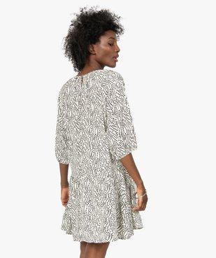 Robe femme imprimée courte à manches ¾  vue3 - GEMO(FEMME PAP) - GEMO