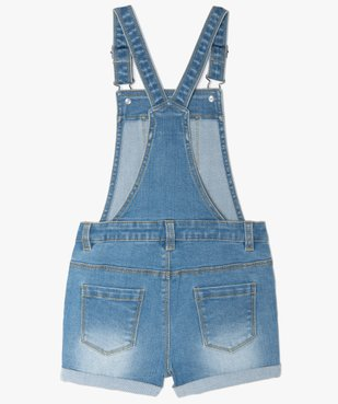 Salopette fille en jean coupe courte vue3 - GEMO (ENFANT) - GEMO