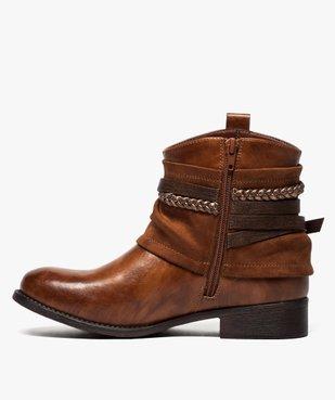 Boots femme talon plat zippés à brides décoratives vue3 - Nikesneakers (CASUAL) - Nikesneakers