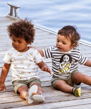 Tee-shirt bébé fille en maille côtelée  vue6 - GEMO C4G BEBE - GEMO