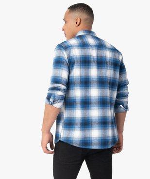 Chemise homme à carreaux et manches longues en flanelle vue3 - GEMO (HOMME) - GEMO