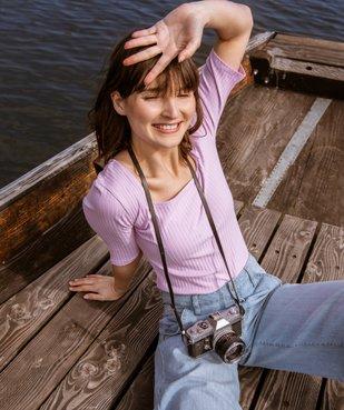 Tee-shirt femme à manches courtes en maille côtelée vue6 - Nikesneakers(FEMME PAP) - Nikesneakers