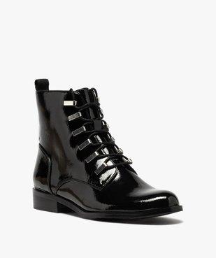 Boots femme unies et vernies à passants métalliques vue2 - GEMO (CASUAL) - GEMO