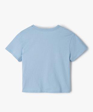 Tee-shirt fille court avec inscription vue3 - GEMO (JUNIOR) - GEMO