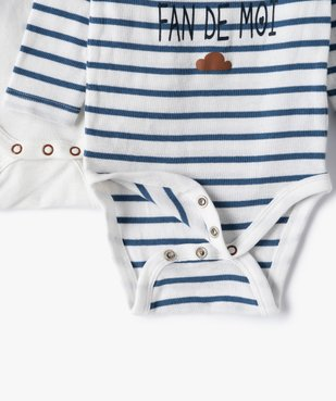 Body bébé garçon manches longues à motifs divers (lot de 3) vue2 - GEMO C4G BEBE - GEMO