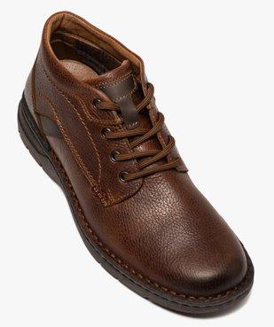 Boots homme à lacets dessus cuir uni  vue5 - GEMO (CASUAL) - GEMO