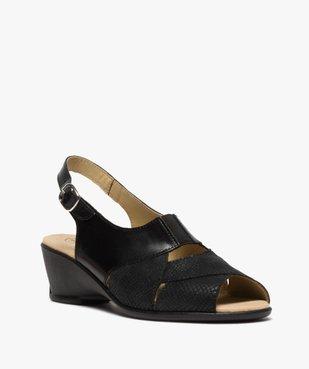 Sandales femme confort en cuir uni et talon compensé vue2 - GEMO (CONFORT) - GEMO