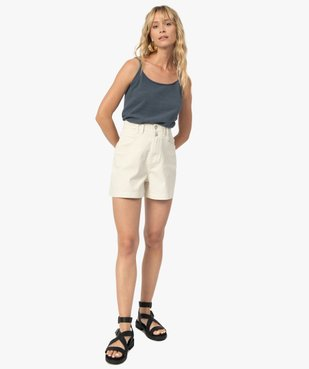 Short femme en toile de coton taille haute vue5 - GEMO(FEMME PAP) - GEMO