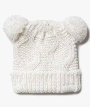 Bonnet fille en grosse maille brillante avec 2 pompons vue1 - Nikesneakers (ENFANT) - Nikesneakers